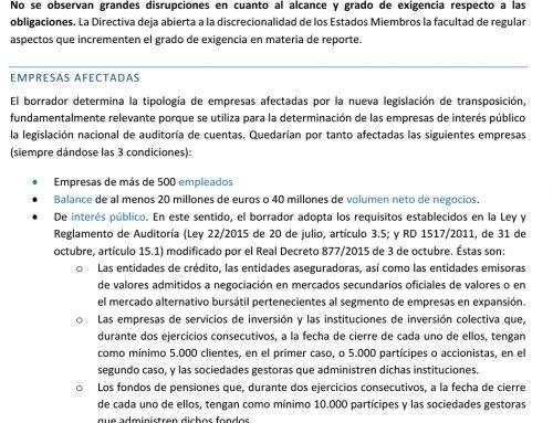 NOTA TÉCNICA. Transposición de la Directiva de Información no financiera (2017)